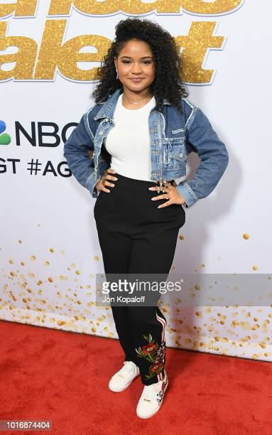 Amanda Mena attends 'America's Got Talent' Season 13 Live Show Red Carpet at Dolby Theatre on August 14 2018 in Hollywood California