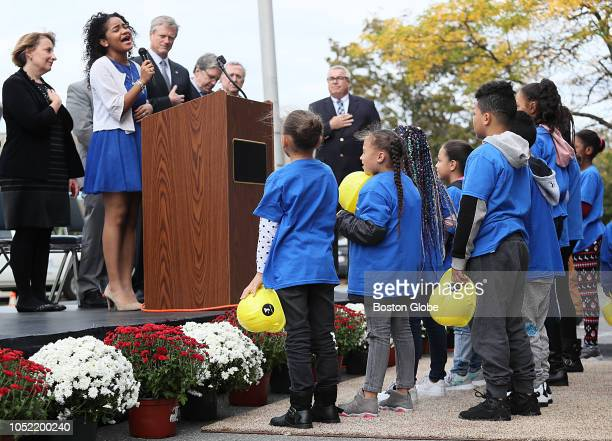 Amanda Mena of 'America's Got Talent' fame sings at the groundbreaking of the new $30 million Lynn YMCA in Lynn MA on Oct 12 2018 The facility will...