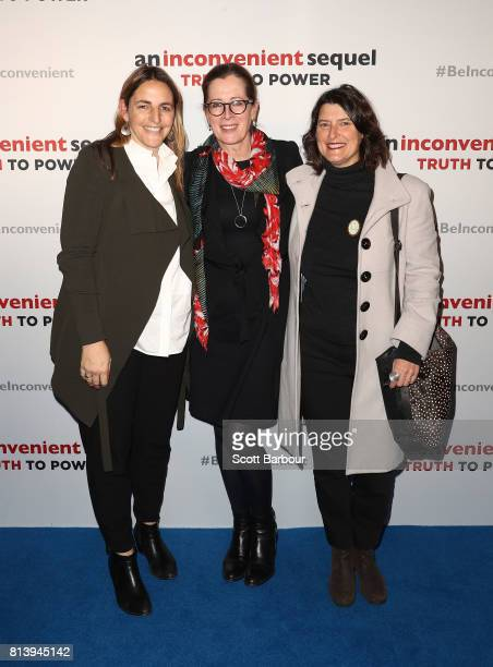 Amanda Mille Julia Riley and Amanda Martin attend a special screening of An Inconvenient Sequel Truth to Power at ACMI on July 13 2017 in Melbourne...