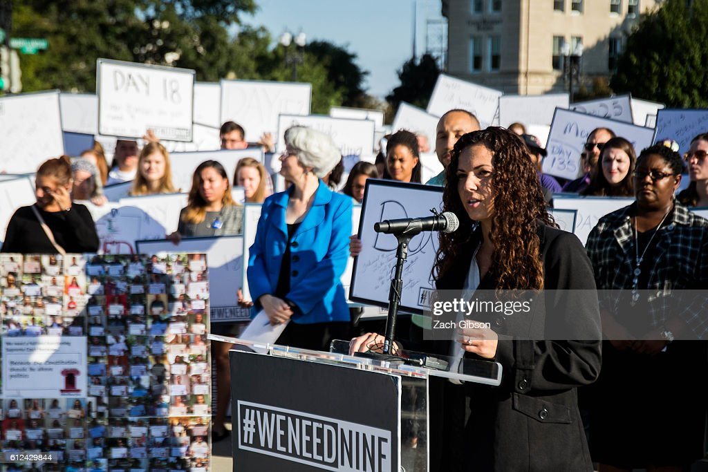 Amanda Molina, a recent law school graduate, speaks during a demonstration urging the U.S. Senate to hold a confirmation vote for Supreme Court Nominee Merrick Garland outside of The Supreme Court of the United States on October 4, 2016 in Washington, DC. Today marks the 202nd day since President Barack Obama nominated Judge Garland to fill the vacancy left after former Justice Antonin Scalia passed away in February.