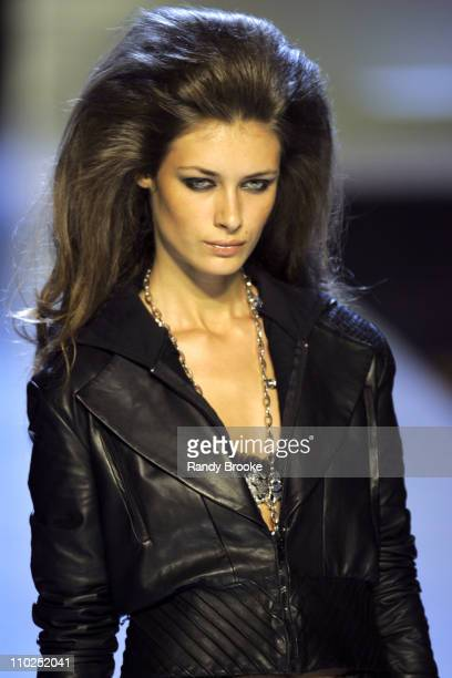 Amanda Moore wearing Baby Phat Spring 2006 during Olympus Fashion Week Spring 2006 Baby Phat Runway at Radio City Music Hall in New York City New...