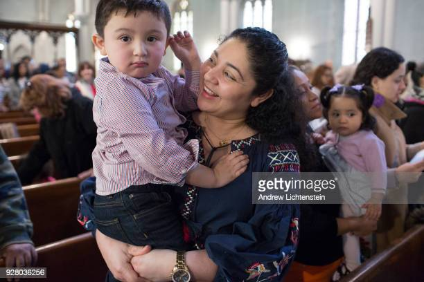 Amanda Morales Guerra an immigrant from Guatemala attends a Sunday church service at the Holyrood Church on March 4 2018 in the Washington Heights...