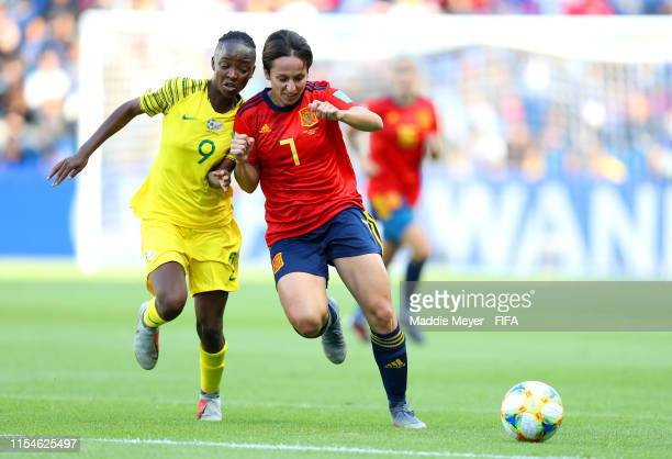 Amanda Mthandi of South Africa battles for possession with Marta Corredera of Spain during the 2019 FIFA Women's World Cup France group B match...