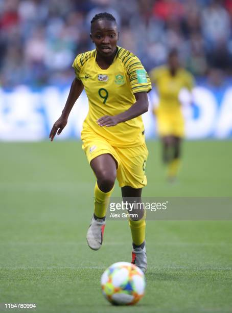 Amanda Mthandi of South Africa controles the ball during the 2019 FIFA Women's World Cup France group B match between Spain and South Africa at on...