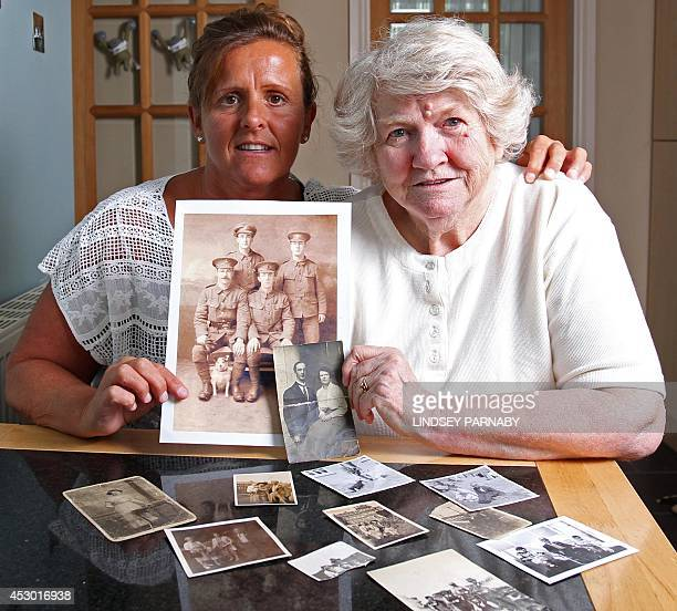 Amanda Nelson and her mother Diane granddaughter and daughter of former WWI British soldier Wilfred Smith pose for pictures in Barnard Castle near...