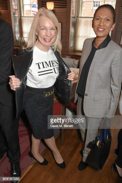 Amanda Nevill and Gina Miller attend the Harper's Bazaar lunch to celebrate International Women's Day at 34 Mayfair on March 8 2018 in London England