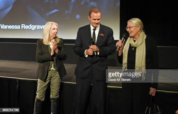 Amanda Nevill BFI CEO producer Carlo Gabriel Nero and director Vanessa Redgrave speak at a special screening of their film Sea Sorrow a documentary...