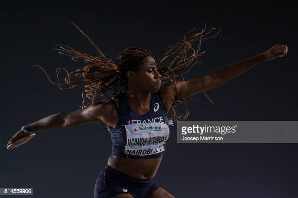 Amanda Ngandu Ntumba of France competes in the girls discus throw final during day 3 of the IAAF U18 World Championships at Moi International Sports...