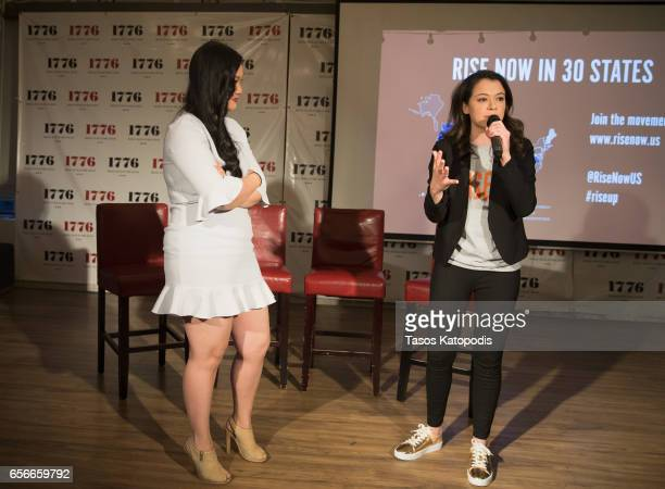 Amanda Nguyen and Tatiana Maslany attends Rise and Funny Or Die's PSA premiere hosted by Tatiana Maslany on March 22 2017 in Washington DC