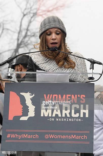 Amanda Nguyen speaks onstage at the Women's March on Washington on January 21 2017 in Washington DC