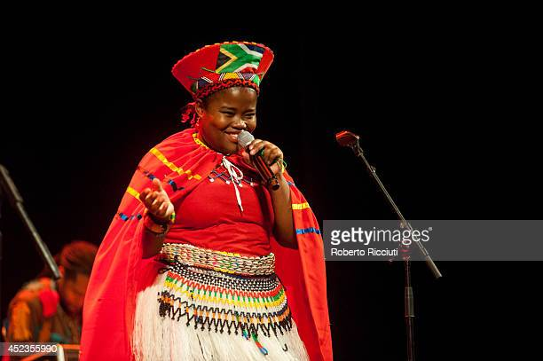 Amanda Nkosi of Mahotella Queens performs on stage for Mandela Day Concert at Edinburgh Jazz Blues Festival at Festival Theatre on July 18 2014 in...