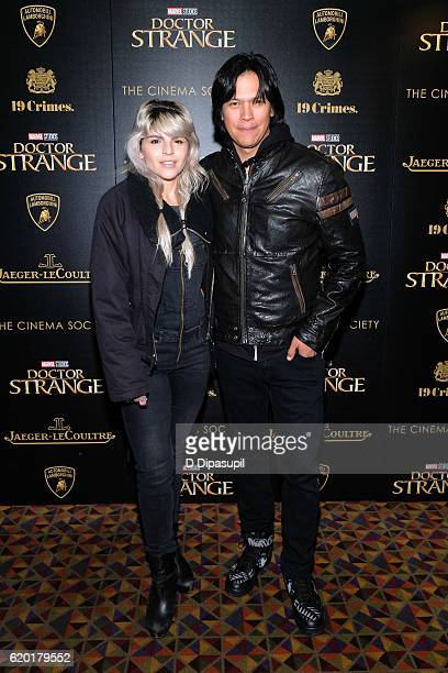Amanda Noah and Chaske Spencer attend a screening of Marvel Studios' Doctor Strange hosted by Lamborghini with The Cinema Society JaegerLeCoultre and...