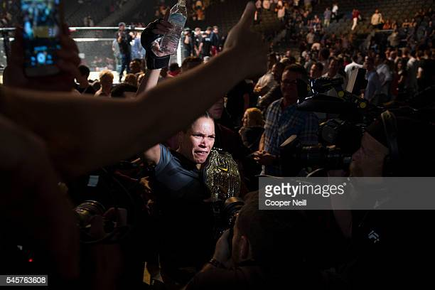 Amanda Nunes celebrates after defeating Miesha Tate UFC 200 at TMobile Arena on July 9 2016 in Las Vegas Nevada