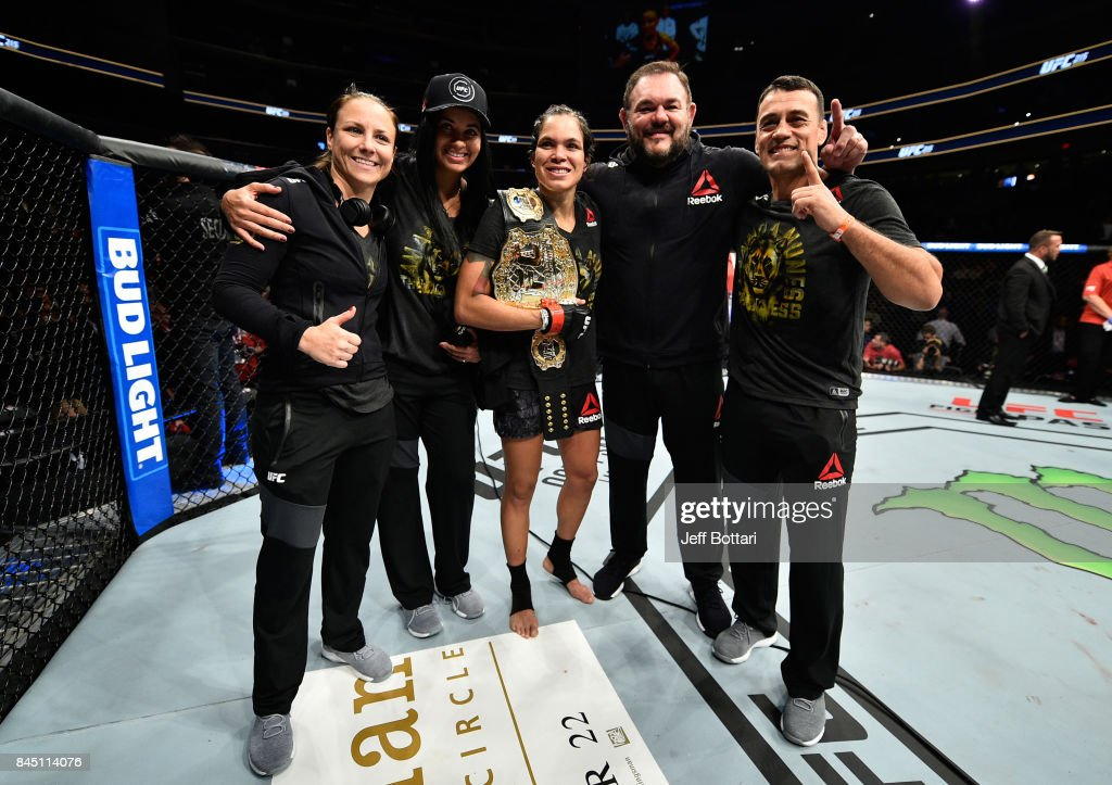 Amanda Nunes of Brazil celebrates her victory over Valentina Shevchenko of Kyrgyzstan in their women's bantamweight bout during the UFC 215 event inside the Rogers Place on September 9, 2017 in Edmonton, Alberta, Canada.