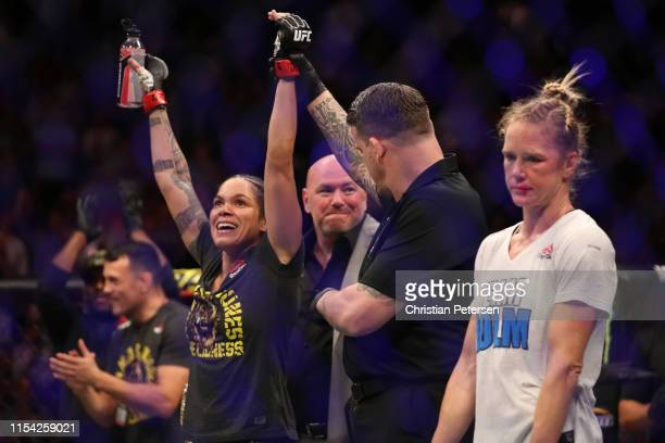 Amanda Nunes of Brazil celebrates her win over Holly Holm in their UFC bantamweight championship fight during the UFC 239 event at T-Mobile Arena on...