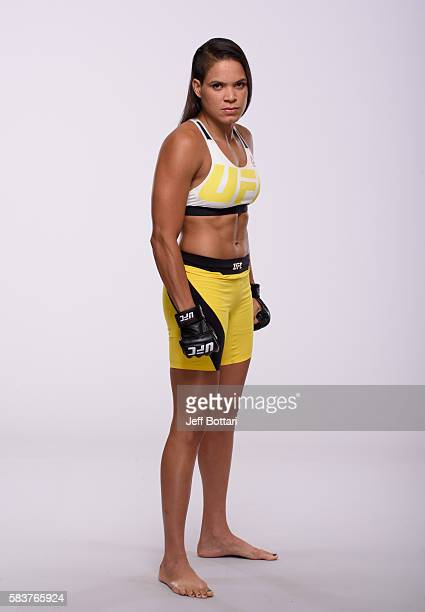 Amanda Nunes of Brazil poses for a portrait during a UFC photo session at the Monte Carlo Resort and Casino on July 6 2016 in Las Vegas Nevada
