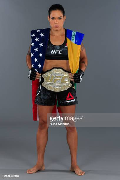 Amanda Nunes of Brazil poses for a portrait during a UFC photo session on May 09 2018 in Rio de Janeiro Brazil