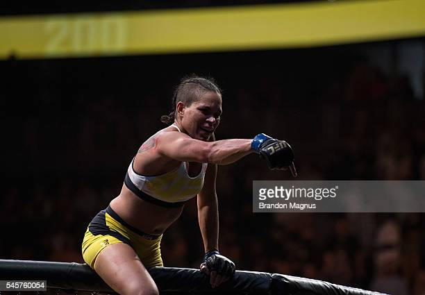 Amanda Nunes of Brazil reacts to her victory over Miesha Tate during the UFC 200 event on July 9 2016 at TMobile Arena in Las Vegas Nevada