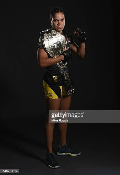Amanda Nunes poses for a portrait backstage during the UFC 200 event on July 9 2016 at TMobile Arena in Las Vegas Nevada