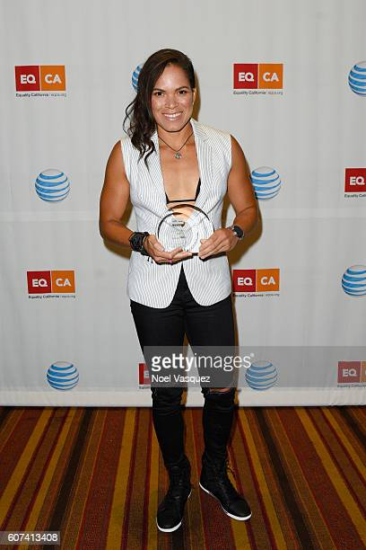 Amanda Nunes poses with the Equality Visibility Award at Equality California's Equality Awards at JW Marriott Los Angeles at LA LIVE on September 17...