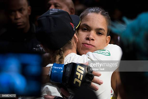 Amanda Nunes prepares to enter the Octagon against Miesha Tate during UFC 200 at TMobile Arena on July 9 2016 in Las Vegas Nevada