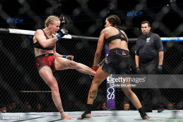 Amanda Nunes right fights Valentina Shevchenko during UFC 215 at Rogers Place on September 9 2017 in Edmonton Canada