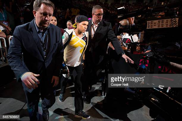 Amanda Nunes walks to the Octagon during UFC 200 at TMobile Arena on July 9 2016 in Las Vegas Nevada