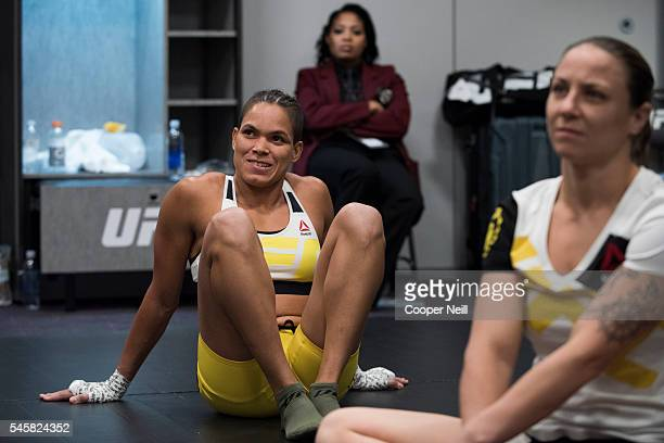 Amanda Nunes warms up in the locker room before UFC 200 at TMobile Arena on July 9 2016 in Las Vegas Nevada