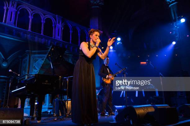 Amanda Palmer and Jherek Bischoff perform at the Union Chapel on November 16 2017 in London England