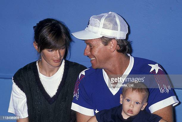 Amanda Pays Oliver Bernsen and Corbin Bernsen during Hollywood All Star Charity Baseball Game August 26 1989 at Dodgers Stadium in Los Angeles...