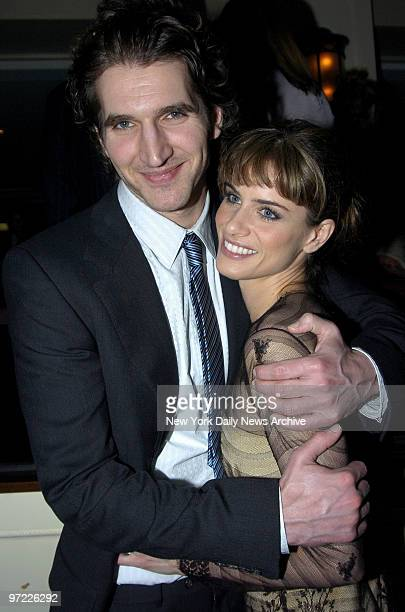 Amanda Peet and her fiance playwright David Benioff attend an opening night party for the Broadway production of 'Barefoot in the Park' at the...