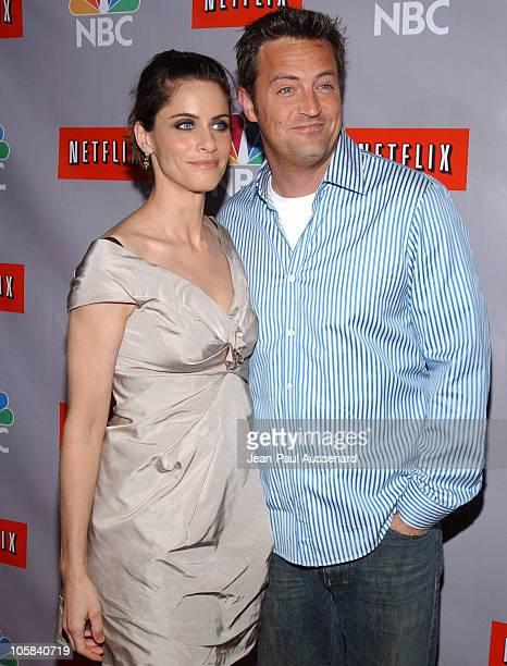 Amanda Peet and Matthew Perry during NBC Summer 2006 TCA Party Arrivals at Ritz Carlton in Pasadena California United States