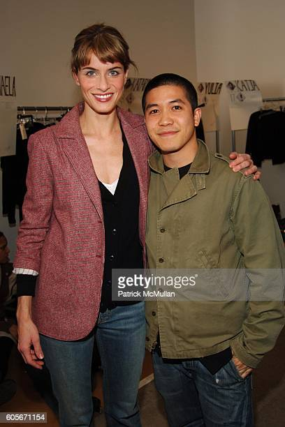 Amanda Peet and Thakoon Panichgul attend Thakoon Fall 2006 Fashion Show at Exit Art on February 7 2006 in New York