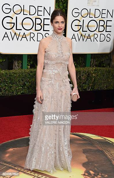 Amanda Peet arrives at the 73nd annual Golden Globe Awards January 10 at the Beverly Hilton Hotel in Beverly Hills California AFP PHOTO / VALERIE...