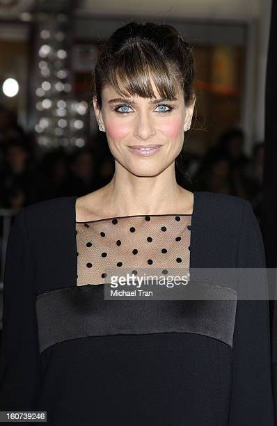 """Amanda Peet arrives at the Los Angeles premiere of """"Identity Thief"""" held at Mann Village Theatre on February 4, 2013 in Westwood, California."""
