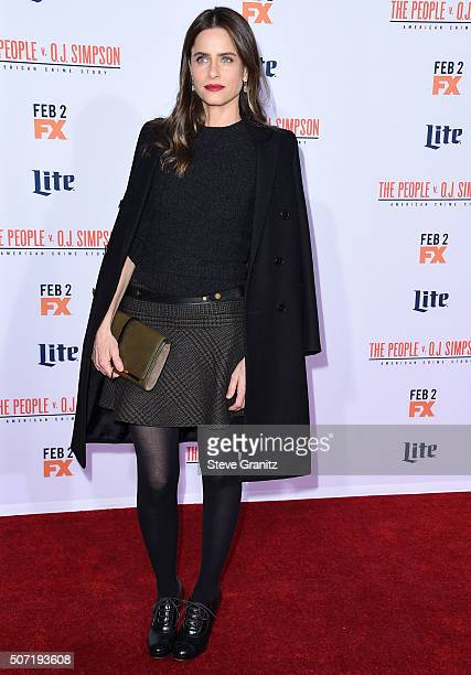 Amanda Peet arrives at the Premiere Of FX's American Crime Story The People V OJ Simpson at Westwood Village Theatre on January 27 2016 in Westwood...
