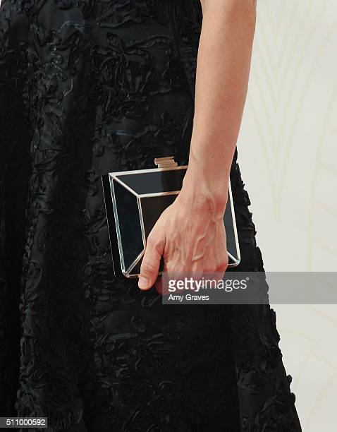 Amanda Peet bag detail attends the 67th Annual Primetime Emmy Awards on September 20 2015 in Los Angeles California