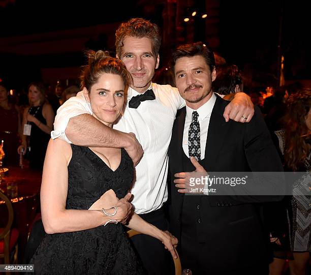 Amanda Peet David Benioff and Pedro Pascal attend HBO's Official 2015 Emmy After Party at The Plaza at the Pacific Design Center on September 20 2015...