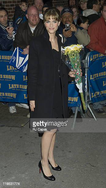Amanda Peet during Amanda Peet Visits the 'Late Show with David Letterman' February 23 2006 at Ed Sullivan Theatre in New York City New York United...