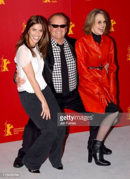 Amanda Peet Jack Nicholson and Diane Keaton during 2004 Berlin Film Festival Something's Gotta Give Photo Call at Hyatt Hotel in Berlin Great Britain