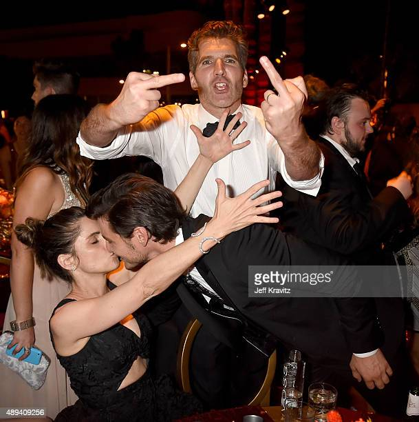Amanda Peet Pedro Pascal David Benioff and John BradleyWest attend HBO's Official 2015 Emmy After Party at The Plaza at the Pacific Design Center on...