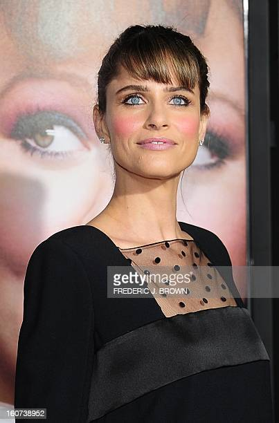 Amanda Peet poses on arrival for the World Premiere of the film 'Identity Thief' in Los Angeles, California, on February 4, 2013. The films opens...