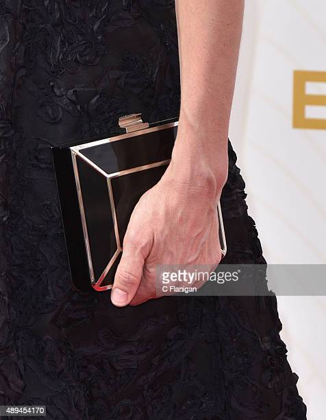 Amanda Peet Purse Detail attends the 67th Annual Primetime Emmy Awards at Microsoft Theater on September 20 2015 in Los Angeles California
