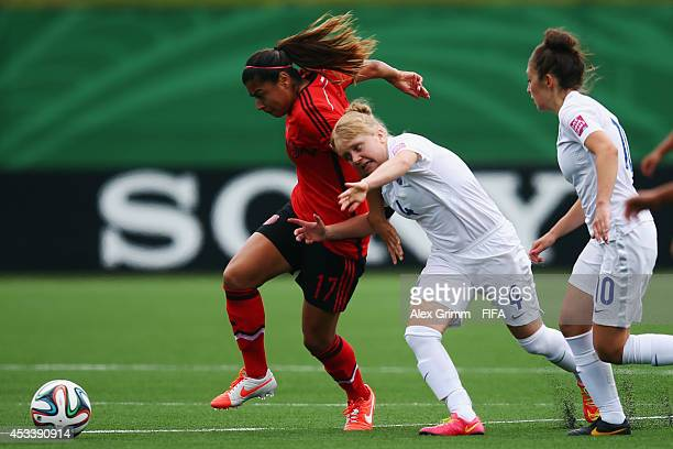 Amanda Perez of Mexico is challenged by Sherry McCue of England during the FIFA U20 Women's World Cup Canada 2014 group C match between England and...