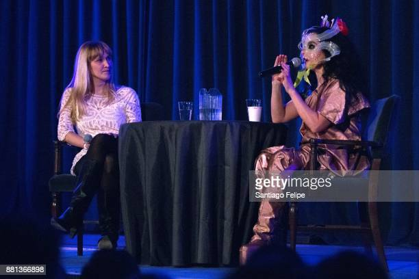 Amanda Petrusich and Bjork onstage during Pitchfork's 'In Sight Out' Series on November 28 2017 in New York City