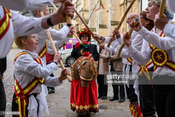 Amanda Plant of Golden Star Morris rides a Hobby horse called Champion the Wonder Horse as Morris Dancers perform on May Day morning in front of...