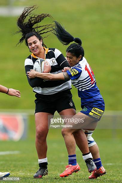 Amanda Rasch of OrientalRongotai is tackled by Lekah Leti of Northern United during the Wellington Club Rugby Women's Final match between...