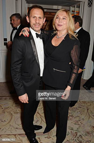 Amanda Redman and guest attend an after party following the press night performance of 'Dirty Rotten Scoundrels' at The Savoy Hotel on April 2 2014...
