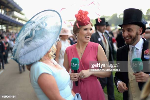 Amanda Redman and presenters Charlotte Hawkins and Mark Heyes attend day 2 of Royal Ascot at Ascot Racecourse on June 21 2017 in Ascot England
