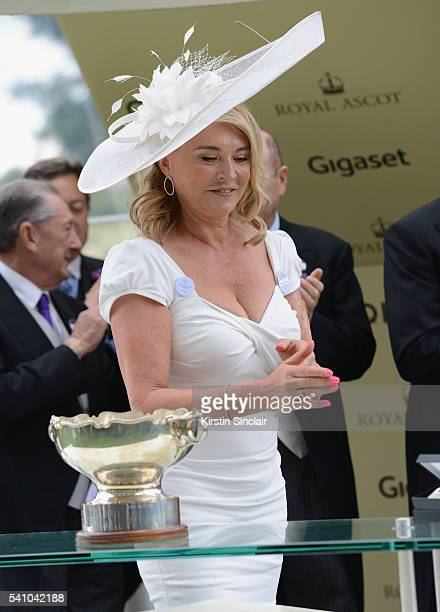 Amanda Redman presents the prizes for the Chesham Stakes on day 5 of Royal Ascot at Ascot Racecourse on June 18 2016 in Ascot England